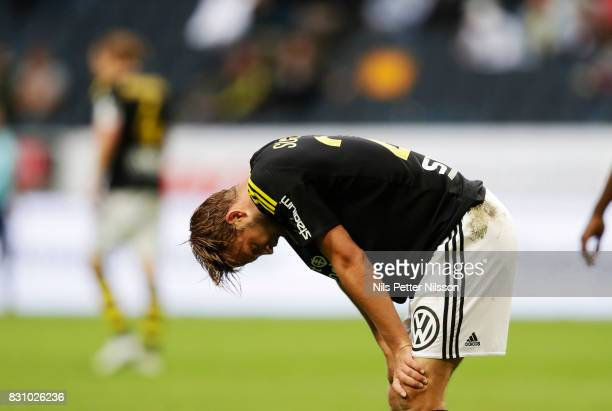 Daniel Sundgren of AIK dejected during the Allsvenskan match between AIK and Athletic FC Eskilstura at Friends arena on August 13 2017 in Solna Sweden