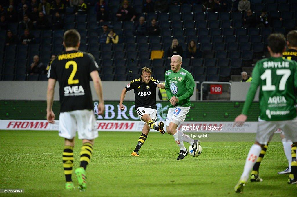 Daniel Sundgren of AIK shoots during the allsvenskan match between AIK and Jonkkoping Sodra IF at Friends arena on May 2, 2016 in Solna, Sweden.