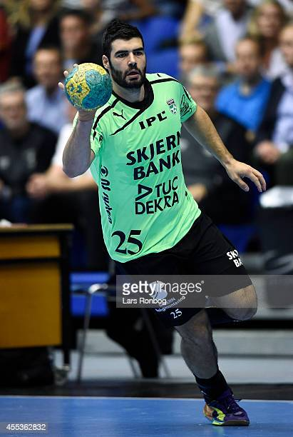 Daniel Svensson of Skjern Handbold in action during the Danish Men's Handball Liga match between Aalborg Handbold and Skjern Handbold at Gigantium...