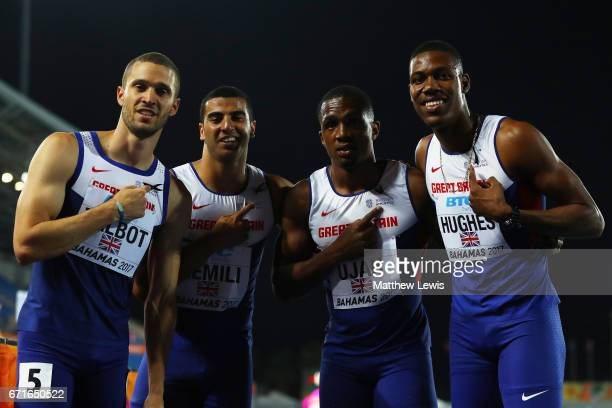 Daniel Talbot Adam Gemili Chijindu Ujah and Zharnel Hughes of Great Britain pose after heat three of the Men's 4 x 100 Meters Relay during the...