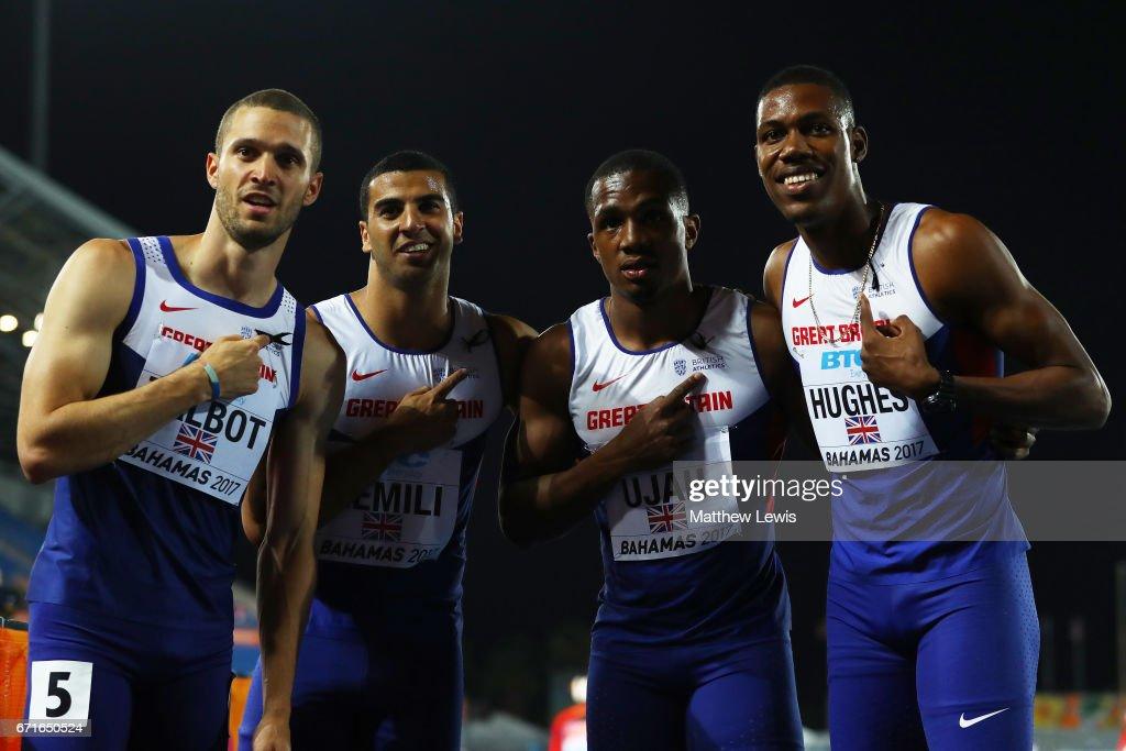 Daniel Talbot, Adam Gemili, Chijindu Ujah and Zharnel Hughes of Great Britain pose after heat three of the Men's 4 x 100 Meters Relay during the IAAF/BTC World Relays Bahamas 2017 at Thomas Robinson Stadium on April 22, 2017 in Nassau, Bahamas.
