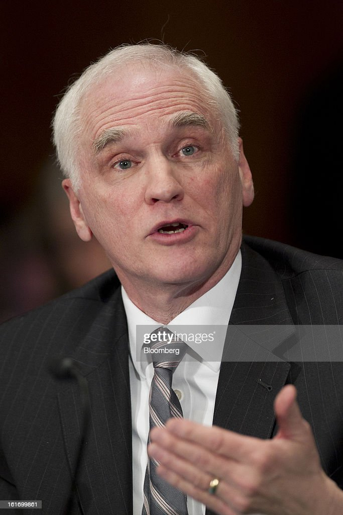 Daniel Tarullo, governor of the U.S. Federal Reserve, speaks during a Senate Banking Committee hearing in Washington, D.C., U.S., on Thursday, Feb. 14, 2013. U.S. regulators told lawmakers they are making significant progress to prevent a repeat of the 2008 credit crisis, pushing back against complaints of slow progress and efforts to undo parts of the Dodd-Frank Act. Photographer: Andrew Harrer/Bloomberg via Getty Images