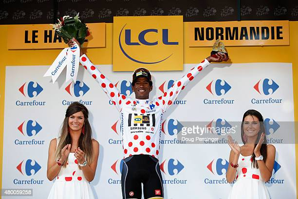 Daniel Teklehaimanot of Eritrea and MTNQhubeka celebrates as he is awarded the polkadot jersey on the podium after stage six of the 2015 Tour de...
