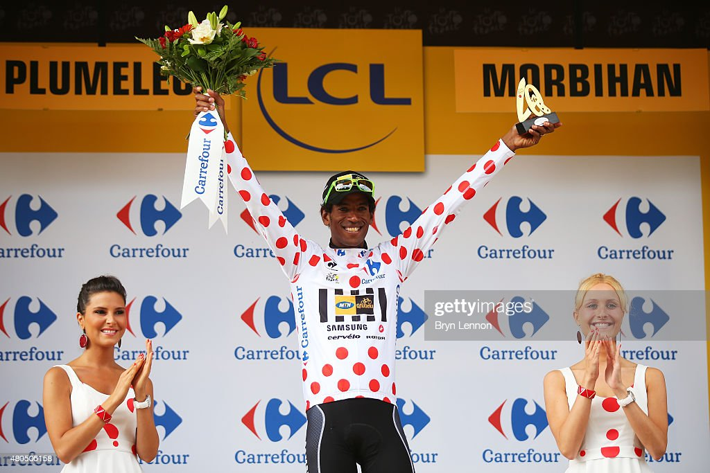 Daniel Teklehaimanot of Eritrea and MTN-Qhubeka retains the polka dot jersey following stage nine of the 2015 Tour de France, a 28km team time trial between Vannes and Plumelec on July 12, 2015 in Plumelec, France.
