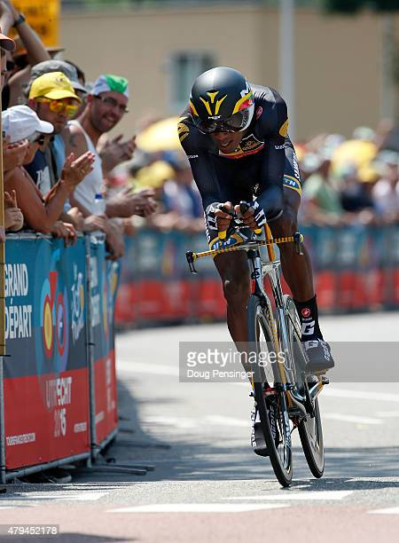 Daniel Teklehaimanot of Eritrea riding for MTNQhubeka is the first rider to take the course for the individual time trial in stage one of the 2015...