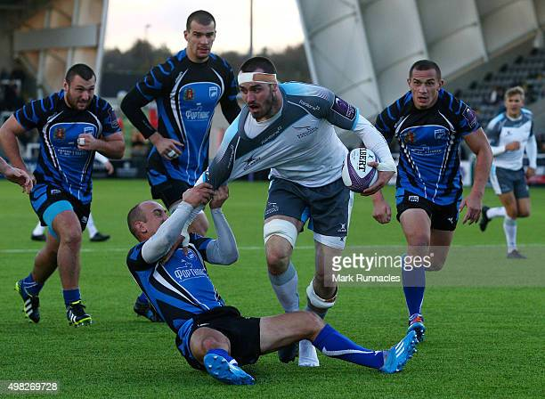 Daniel Temm of Newcastle Falcons is tackled by Jurijs Baranovs of EniseiSTM during the European Rugby Challenge Cup pool 1 match between Newcastle...
