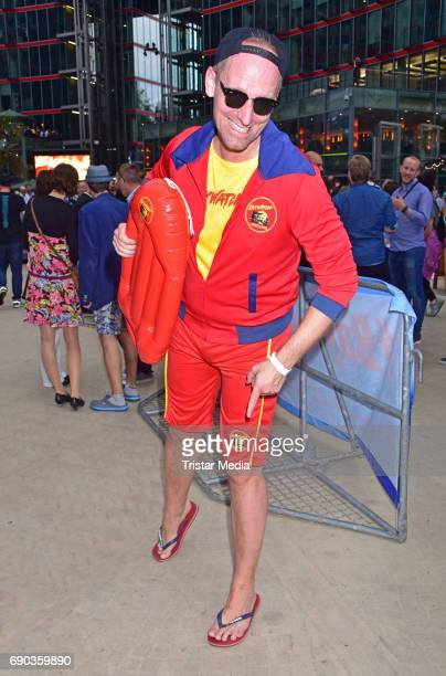 Daniel Termann with life guards during the Baywatch European Premiere Party on May 31 2017 in Berlin Germany