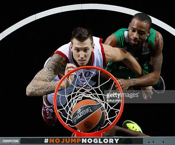 Daniel Theis #10 of Brose Baskets Bamberg in action during the Turkish Airlines Euroleague Regular Season Round 7 game between Darussafaka Dogus...