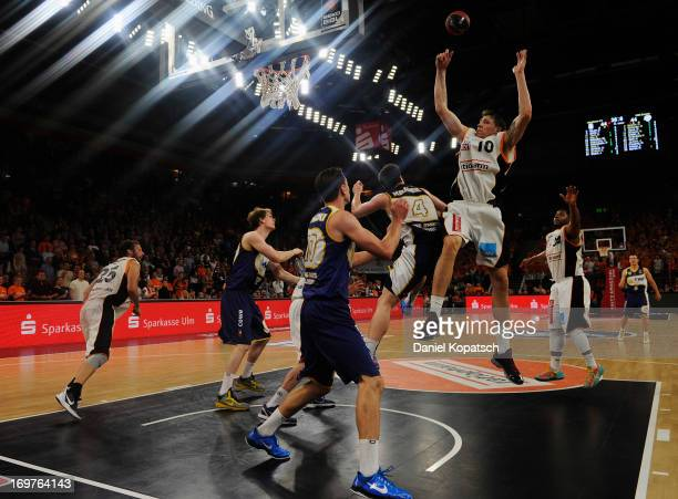 Daniel Theis of Ulm defends during the fourth Game of the semifinals of the Beko Basketball Playoffs match between Ratiopharm Ulm and EWE Baskets...