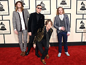 Daniel Tichenor Brad Shultz Matt Shultz and Jared Champion of Cage the Elephant attend The 57th Annual GRAMMY Awards at the STAPLES Center on...