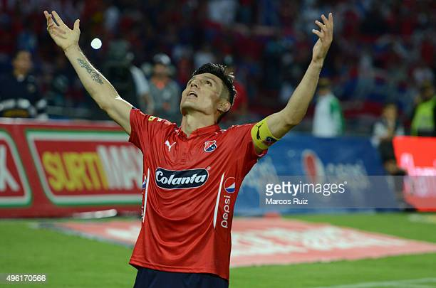 Daniel Torres of Independiente Medellin celebrates after scoring the second goal during a match between Independiente Medellin and Millonarios as...