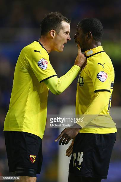 Daniel Tozser points the finger of blame at team mate Odion Ighalo of Watford during the Sky Bet Championship match between Birmingham City and...