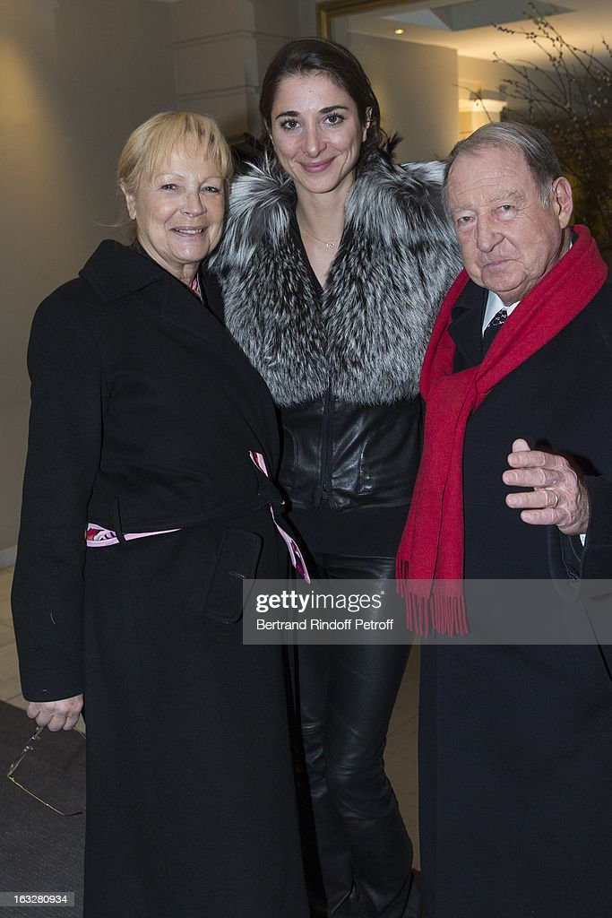 Daniel Tribouillard (R), his wife (L) and Lorraine Ricard attend the Jitrois Fall/Winter 2013 Ready-to-Wear show as part of Paris Fashion Week on March 6, 2013 in Paris, France.