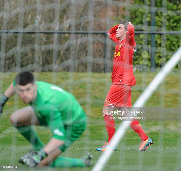 Daniel TrickettSmit of Liverpool rues a missed chance during the Barclays Premier League Under 18 fixture between Liverpool and Manchester City at...