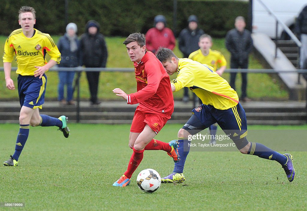 Daniel Trickett-Smith of Liverpool and Ethan Robson of Sunderland in action during the Barclays Premier League Under 18 fixture between Liverpool and Sunderland at the Liverpool FC Academy on February 15 in Kirkby, England.