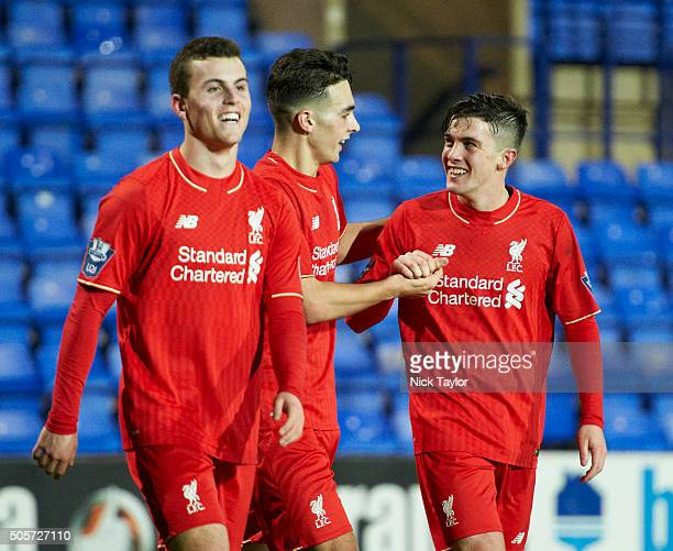 Daniel TrickettSmith of Liverpool celebrates his goal with Brooks Lennon and Adam Phillips during the Liverpool v Leeds United U21 Premier League Cup...