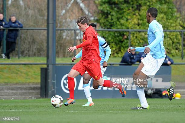 Daniel TrickettSmith of Liverpool in action during the Barclays Premier League Under 18 fixture between Liverpool and Manchester City at the...