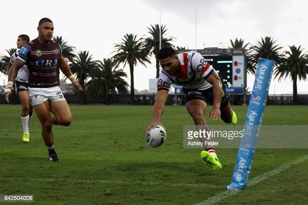 Daniel Tupou of the Roosters scores a try during the NRL Trial match between the Manly Warringah Sea Eagles and Sydney Roosters at Central Coast...