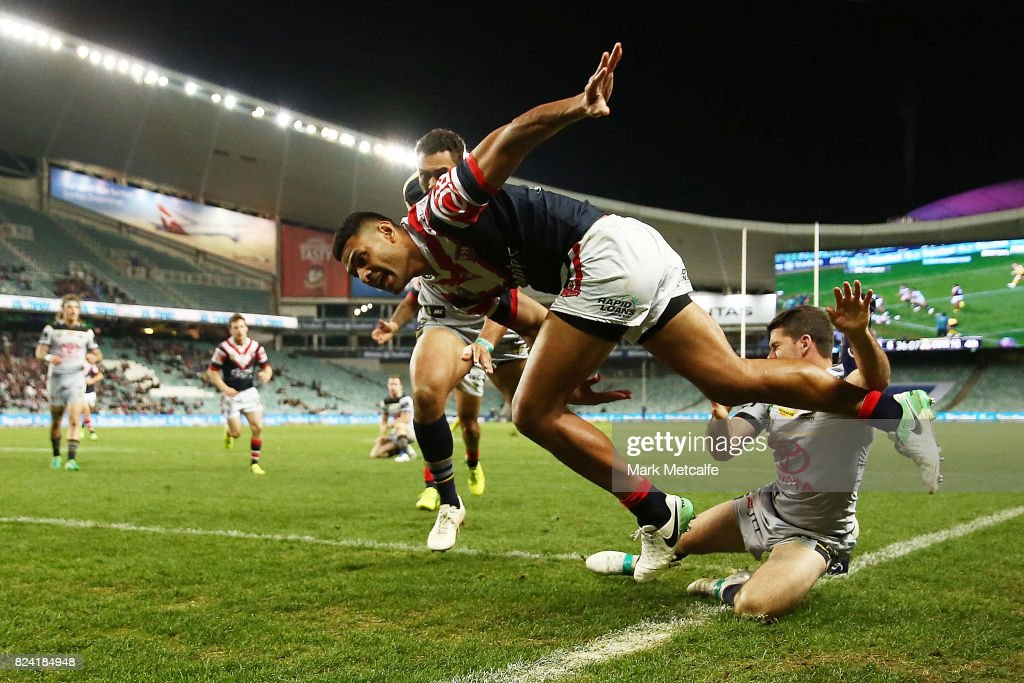 Daniel Tupou of the Roosters scores a try during the round 21 NRL match between the Sydney Roosters and the North Queensland Cowboys at Allianz Stadium on July 29, 2017 in Sydney, Australia.