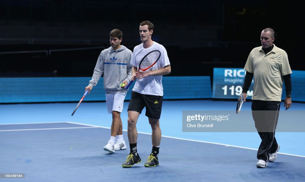 L-R Daniel Vallverdu hitting partner,Andy Murray of Great Britain and his coach Ivan Lendl during a practice session prior to the start of ATP World Tour Finals Tennis at the O2 Arena on November 4, 2012 in London, England.