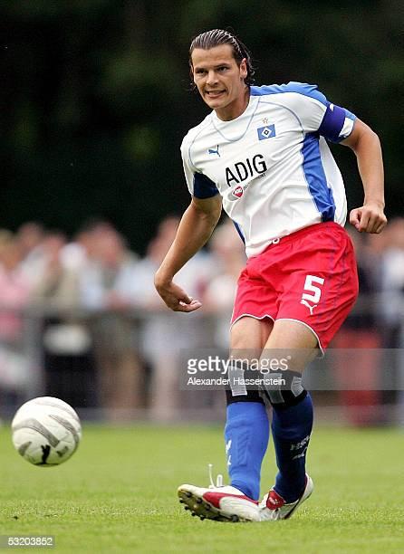 Daniel van Buyten of Hamburg holds the ball during the friendly match between VFL Pinneberg and Hamburger SV on July 6 2005 in Pinneberg near Hamburg...