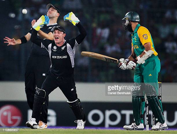 Daniel Vettori celebrates with team mate Brendon McCullum of New Zealand after taking the catch to dismiss Hashim Amla of South Africa off the...