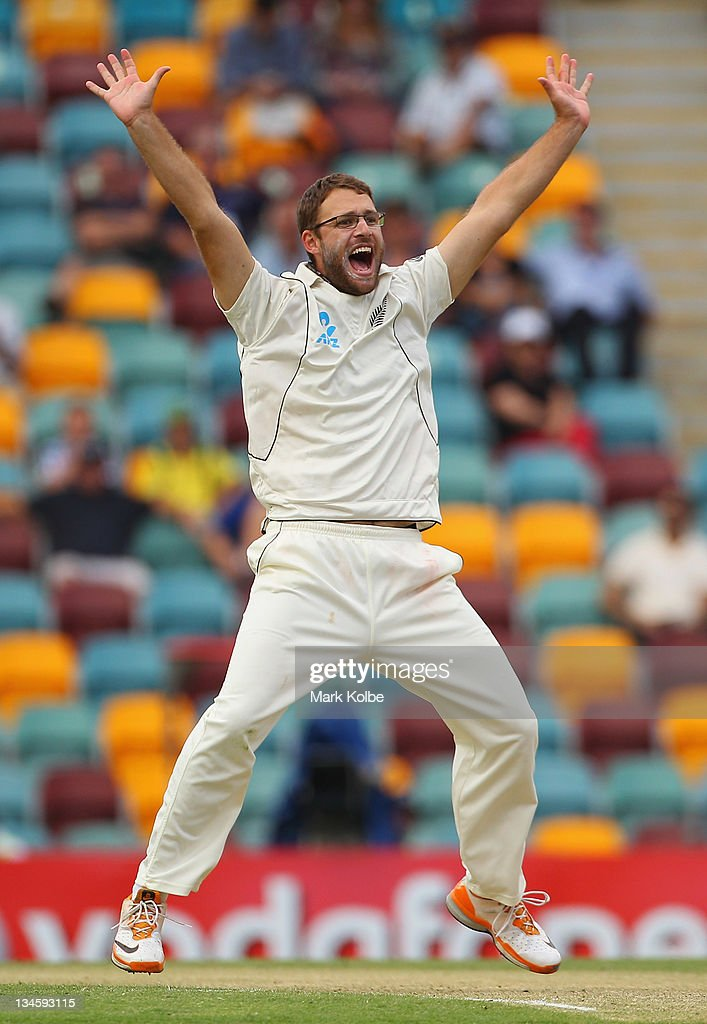 Daniel Vettori of New Zealand appeals during day three of the First Test match between Australia and New Zealand at The Gabba on December 3 2011 in...