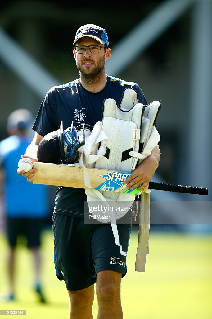 Daniel Vettori of New Zealand arrives for a New Zealand Black Caps training session at Eden Park on February 25 2015 in Auckland New Zealand