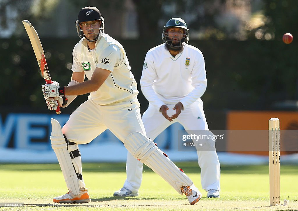 Daniel Vettori of New Zealand bats during day two of the First Test match between New Zealand and South Africa at the University Oval on March 8 2012...