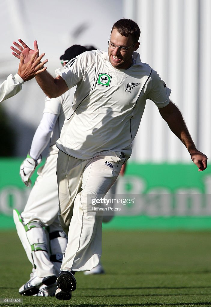 Daniel Vettori of New Zealand celebrates the wicket of Mohammad Aamer of Pakistan to win the First Test match on day five between New Zealand and...