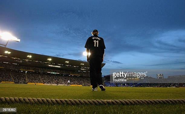Daniel Vettori of New Zealand fields during the first ODI between New Zealand and South Africa at Eden Park on February 13 2003 in Auckland New...