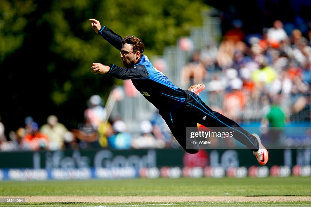 Daniel Vettori of New Zealand fields the ball during the ICC Cricket World Cup match between New Zealand and Scotland at University Oval on February...