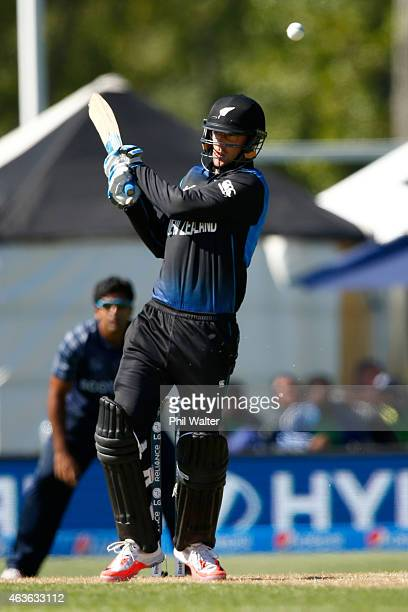 Daniel Vettori of New Zealand hits the winning runs during the ICC Cricket World Cup match between New Zealand and Scotland at University Oval on...