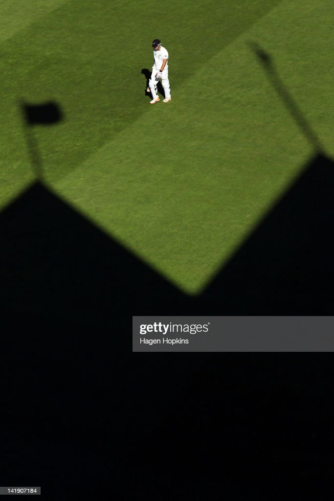 Daniel Vettori of New Zealand leaves the field after being dismissed during day four of the Third Test match between New Zealand and South Africa at...