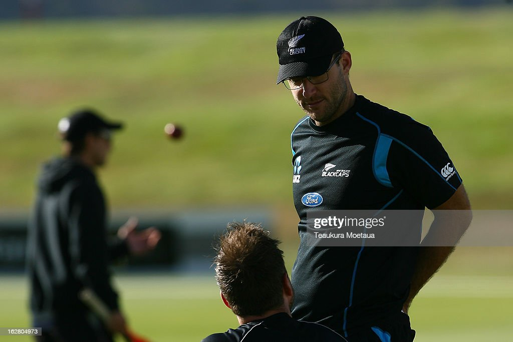 Daniel Vettori of New Zealand looks on during day two of the International tour match between the New Zealand XI and England at Queenstown Events Centre on February 28, 2013 in Queenstown, New Zealand.