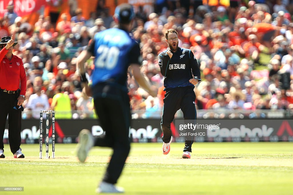 Daniel Vettori of the Black Caps celebrates taking the wicket of Afsar Zazai of Afghanistan during the 2015 ICC Cricket World Cup match between New...