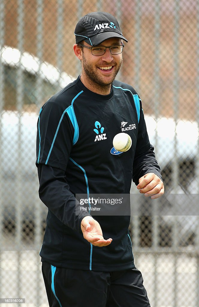 Daniel Vettori of the Blackcaps warms up in the nets during a New Zealand cricket training session at Eden Park on February 22 2013 in Auckland New...
