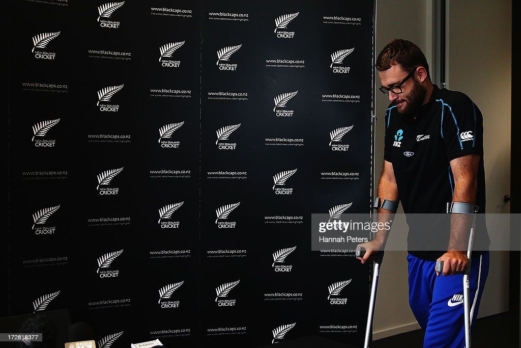 Daniel Vettori speaks to the media during a press conference at the New Zealand Cricket Offices on July 5 2013 in Auckland New Zealand Vettori has...