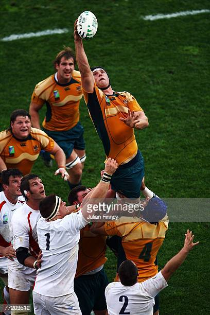 Daniel Vickerman of Australia rises to claim the ball during the Quarter Final of the Rugby World Cup 2007 between Australia and England at the Stade...