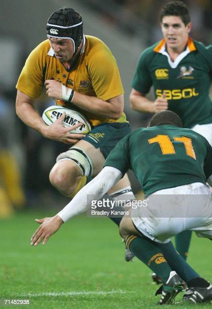 Daniel Vickerman of the Wallabies in action during the 2006 Tri Nations series Mandela plate match between Australia and South Africa at Suncorp...