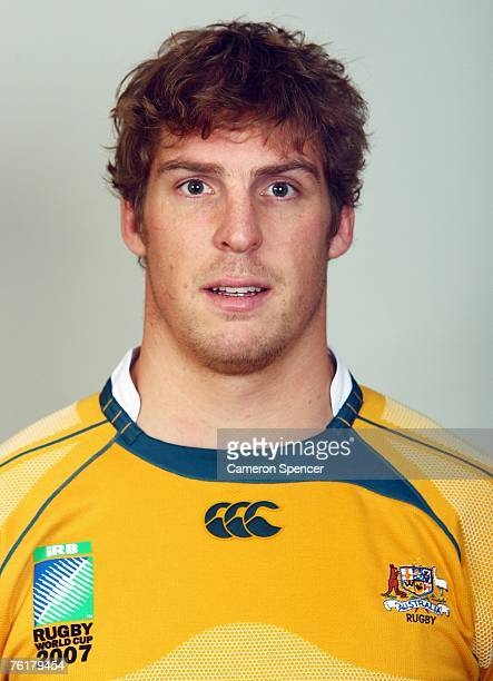 Daniel Vickerman of the Wallabies poses during the Austraian Wallabies Rugby World Cup 2007 headshots photo session at Crowne Plaza Coogee on August...
