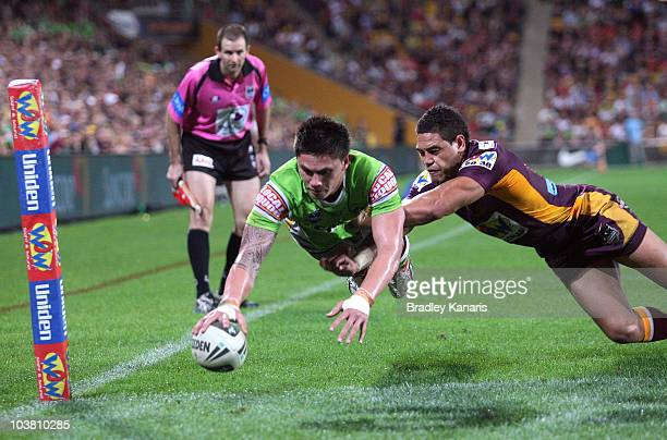 Daniel Vidot of the Raiders scores a try during the round 26 NRL match between the Brisbane Broncos and the Canberra Raiders at Suncorp Stadium on...