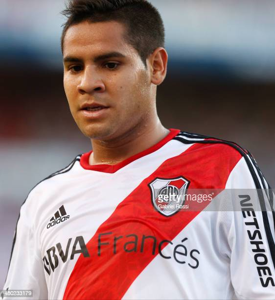 Daniel Villalva player of River Plate looks on during a match between River Plate and Lanus as part of ninth round of Torneo Final 2014 at Monumental...