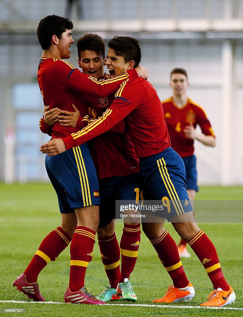 Daniel Villanueva of Spain celebrates with team mates after scoring the opening goal of the game during a U16 International match between England and...