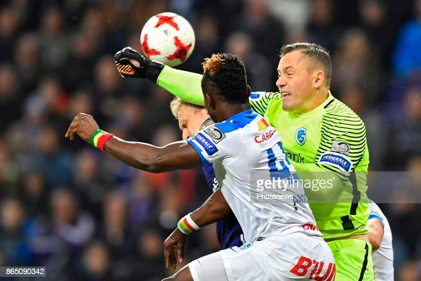 Daniel Vukovic goalkeeper of KRC Genk Joseph Aidoo defender of KRC Genk Lukasz Teodorczyk forward of RSC Anderlecht during the Jupiler Pro League...