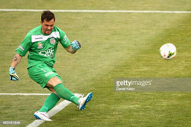 Daniel Vukovic of Perth Glory takes a goal kick during the round 17 ALeague match between Adelaide United and Perth Glory at Coopers Stadium on...
