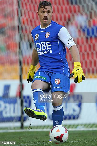 Daniel Vukovic of the Glory kicks during the round eight ALeague match between Brisbane Roar and Perth Glory at Suncorp Stadium on November 30 2013...