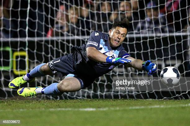 Daniel Vukovic of the Glory saves a goal during the FFA Cup match between the Newcastle Jets and the Perth Glory at Wanderers Oval on August 5 2014...