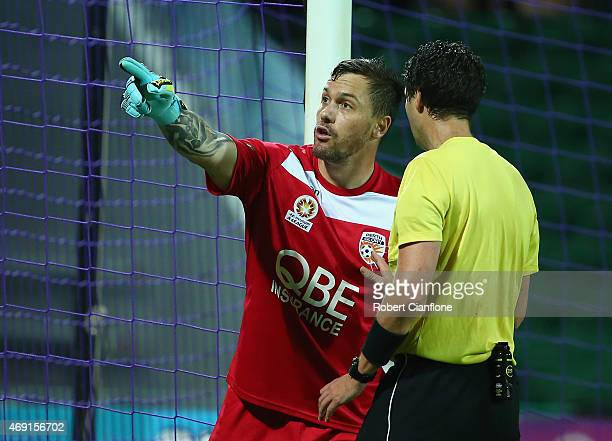 Daniel Vukovic of the Perth Glory gestures to referee Kris GriffithsJones during the round 25 ALeague match between the Perth Glory and Sydney FC at...