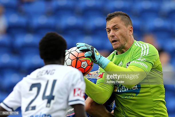 Daniel Vukovic of the Victory makes a save during the round 13 ALeague match between the Newcastle Jets and Melbourne Victory at Hunter Stadium on...